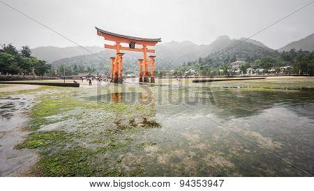 Miyajima, Floating Torii gate, low tide, Japan.