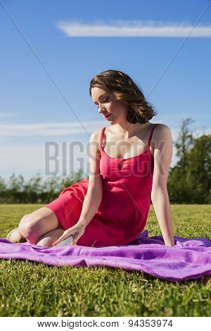 A Woman Is Enjoying The Sunny Day