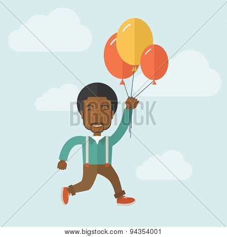 A young black man is flying in blue sky holding group of colored balloons. Freedom concept. A Contemporary style with pastel palette, soft blue tinted background with desaturated clouds. Vector flat