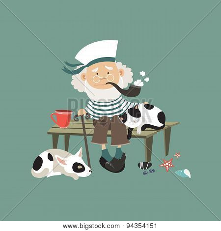 Old sailor sitting on bench with cat and dog