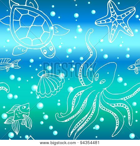 Hand Drawn Pattern With Different Sea Creatures