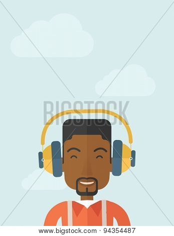 A Happy black young guy listening to music with headphones. Happy concept. A Contemporary style with pastel palette, soft blue tinted background with desaturated clouds. Vector flat design