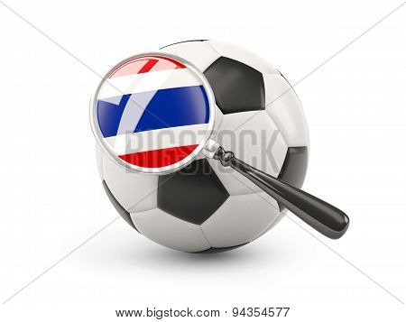 Football With Magnified Flag Of Thailand