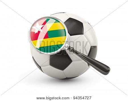Football With Magnified Flag Of Togo