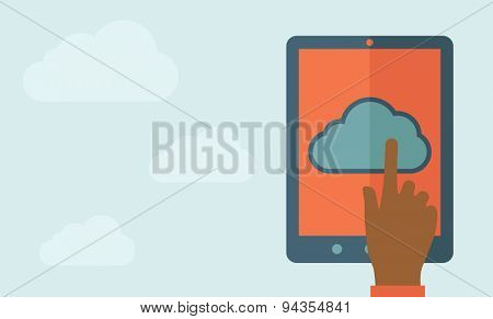 A finger touching cloud on a tablet touch screen. Cloud computing concept. A Contemporary style with pastel palette, soft blue tinted background with desaturated clouds. Vector flat design