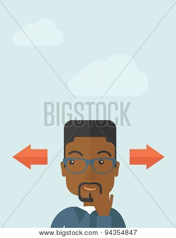Black man thinking which way to go left or right arrows. Choosing concept.  A Contemporary style with pastel palette, soft blue tinted background with desaturated clouds.. Vector flat design