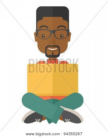 A black guy having a great idea while reading a book. Business concept. A Contemporary style. Vector flat design illustration isolated white background. Vertical layout