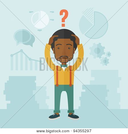 An african businessman with a problem standing scratching his head with question mark on top of his head. Unhappy concept. A Contemporary style with pastel palette, soft blue tinted background. Vector
