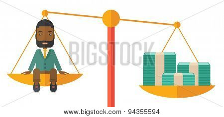 A happy smiling young male sitting on a balance scale with a money bill. Comparison concept. A Contemporary style. Vector flat design illustration isolated white background. Horizontal layout.