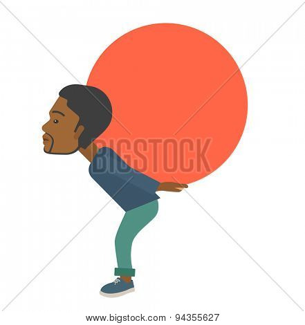 An african-american buisnessman sacrifice in carrying a big ball going up to reach the goal concept. A Contemporary style. Vector flat design illustration isolated white background. Square layout.