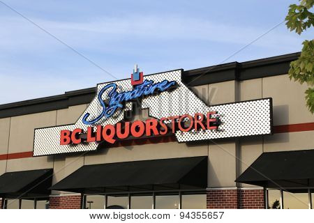 Pitt Meadows, BC, Canada - June 16, 2015 : BC liquor store in Pitt Meadows