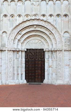 Entrance of Santa Maria della Piazza Church in Ancona