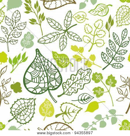 Green leaves,branches outline seamless pattern