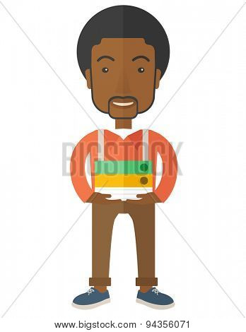 An african Stressful but happy employee standing in office carrying his finished file report ready to submit to his superior. Busy concept. A Contemporary style. Vector flat design illustration