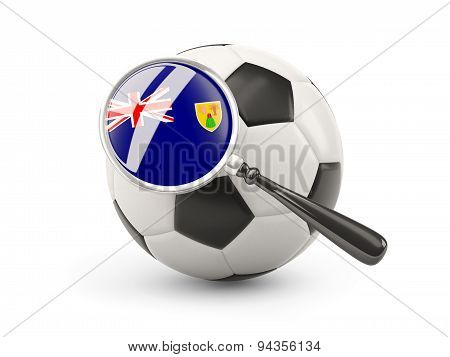Football With Magnified Flag Of Turks And Caicos Islands