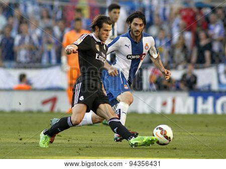 BARCELONA - MAY 17: Gareth Bale of Real Madrid during a Spanish League match against RCD Espanyol at the Power8 stadium on May 17 2015 in Barcelona, Spain