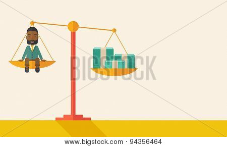 A happy smiling african young male sitting on a balance scale with a money bill. Comparison concept. A Contemporary style with pastel palette, soft beige tinted background. Vector flat design