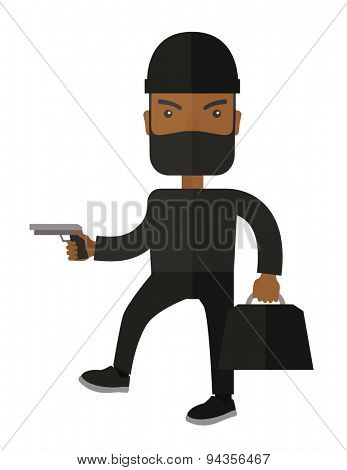 A black guy wearing black suit with mask to disguise. Criminal, illegal concept. A Contemporary style. Vector flat design illustration isolated white background. Vertical layout.