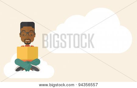 A black guy having a great idea while reading a book. Business concept. A Contemporary style with pastel palette, soft beige tinted background. Vector flat design illustration. Horizontal layout with
