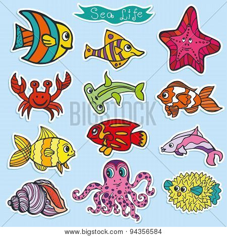 Cartoon Funny Fish, Sea Life stickers.Colorful Doodle set