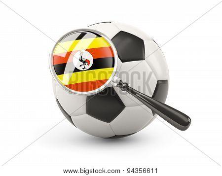 Football With Magnified Flag Of Uganda