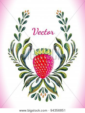 Floral ornament with strawberry