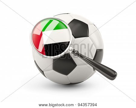 Football With Magnified Flag Of United Arab Emirates