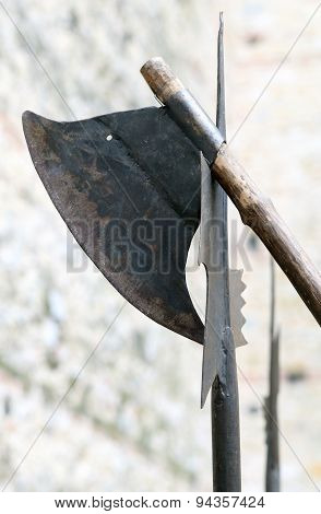 Ancient Axe And Medieval Halberd During Combat