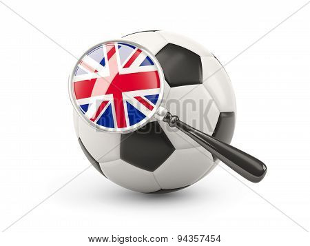 Football With Magnified Flag Of United Kingdom