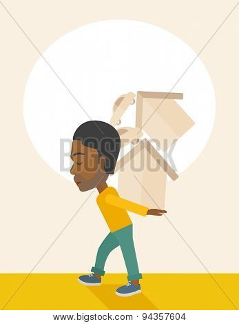 A sad black man carrying house and car as his loan or debt from the bank. A Contemporary style with pastel palette, soft beige tinted background. Vector flat design illustration. Vertical layout with