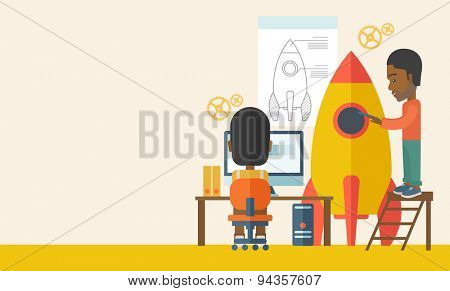 Two black man to launch for new start up idea in business. Business concept. A Contemporary style with pastel palette, soft beige tinted background. Vector flat design illustration. Horizontal