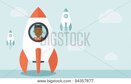 A black guy is happy inside the rocket it is a metaphor for starting a business, new beginning. On-line start up business concept.  A Contemporary style with pastel palette, soft blue tinted