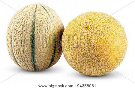 Ripe Melon Cantaloupe, Galia Isolated On White Background
