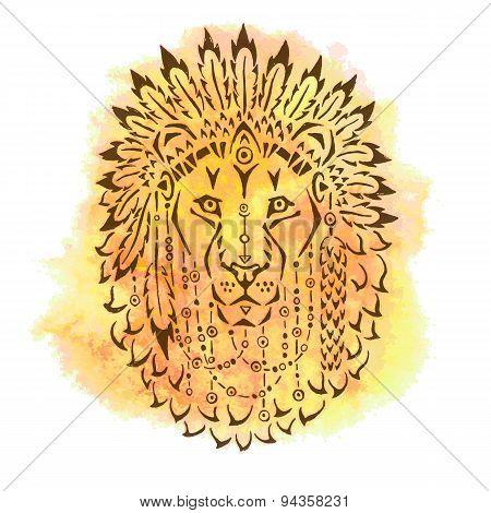 Lion in war bonnet, hand drawn animal illustration