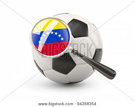 Football With Magnified Flag Of Venezuela