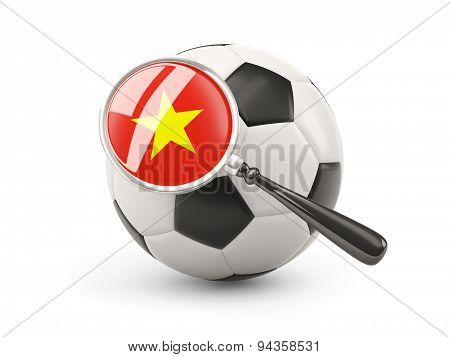 Football With Magnified Flag Of Vietnam