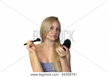 Blonde Woman With Makeup Brush Frontal View