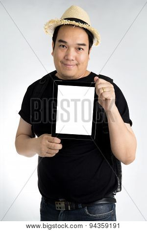 Portait Asian Man With Tablet