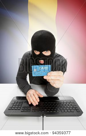 Cybercrime Concept With National Flag On Background - Chad