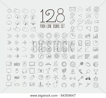 Print128 Trendy Thin Icons Set