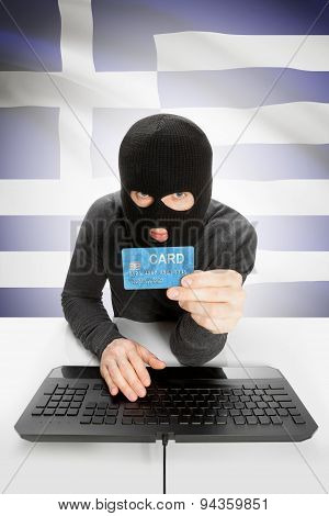 Cybercrime Concept With National Flag On Background - Greece