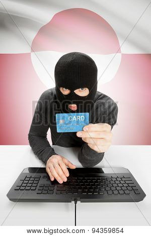 Cybercrime Concept With National Flag On Background - Greenland