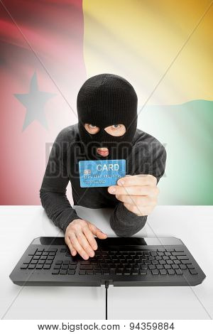 Cybercrime Concept With National Flag On Background - Guinea-bissau