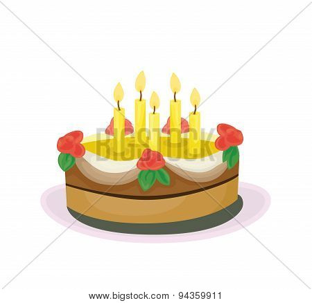 Cake With Roses And Candles