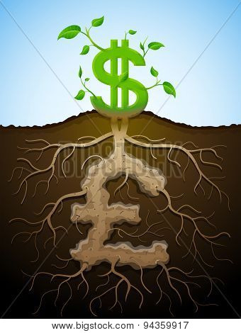 Growing Dollar Sign As Plant With Leaves And Pound Sign As Root