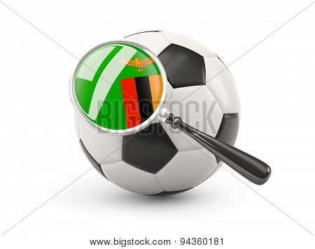 Football With Magnified Flag Of Zambia