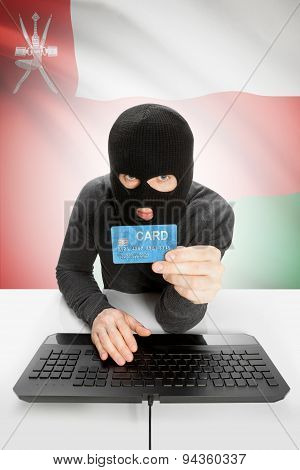 Cybercrime Concept With National Flag On Background - Oman