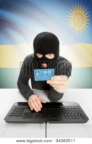 Cybercrime Concept With National Flag On Background - Rwanda