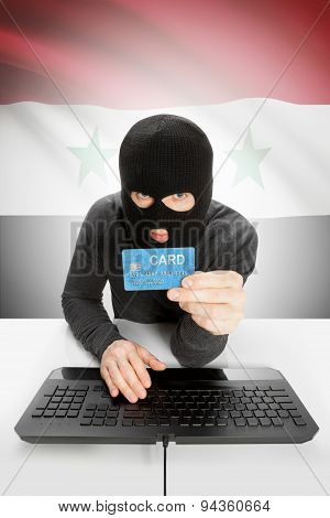 Cybercrime Concept With National Flag On Background - Syria
