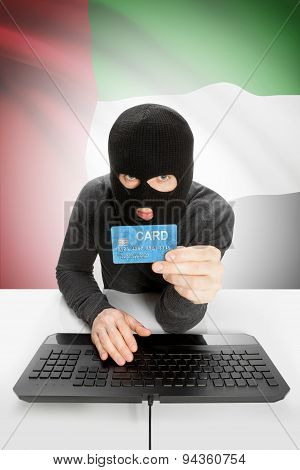 Cyber crime Concept With National Flag On Background - United Arab Emirates